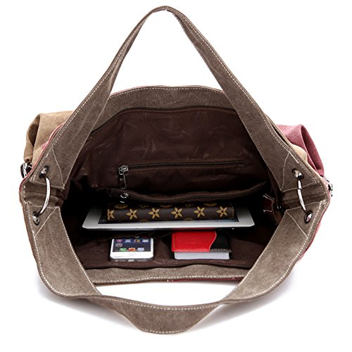 LATH.PIN Damen Vintage Patchwork Tasche Henkeltasche Schultertasche Umhängetasche Weinrot