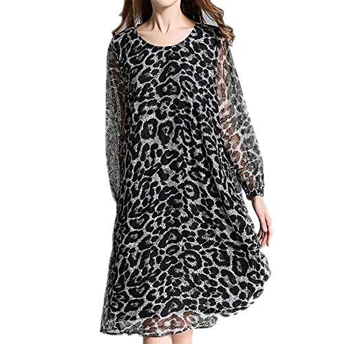 MCC Le donne di stampa vestito in pizzo grandi dimensioni personalità leopardo collo Hollow tondo Maniche lunghe Tempo libero allentato , black grey , xxxl