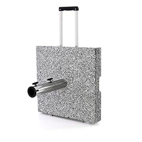 Sonnenschirmständer 40 kg Granit eckig mit Griff Räder Trolleyfunktion poliertes