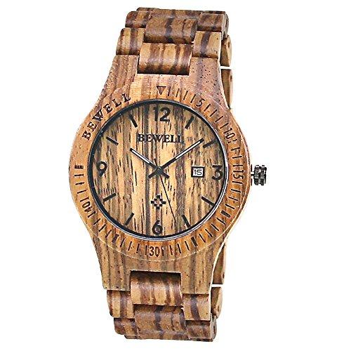BEWELL Orologio da uomo analogico in legno zebrano, al quarzo, con calendario (caffè zebrano)