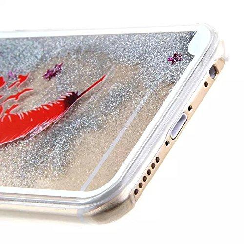 iPhone 6S Plus Hülle,iPhone 6 Plus Hülle,iPhone 6 Plus Case,EMAXELERS Bling Luxus Shiny Sparkle Kristall Rosa Herz der Liebe Design Hard Haut zurück Tasche Schutzhülle Funny 3D Fließen Flüssig Schwimm Silver Liquid 2