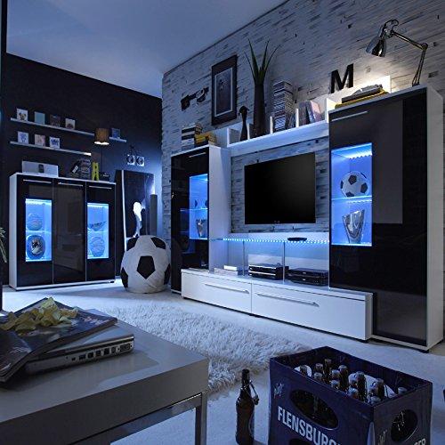 Wohnwand »FUTERA231« weiß, Glas schwarz - 5