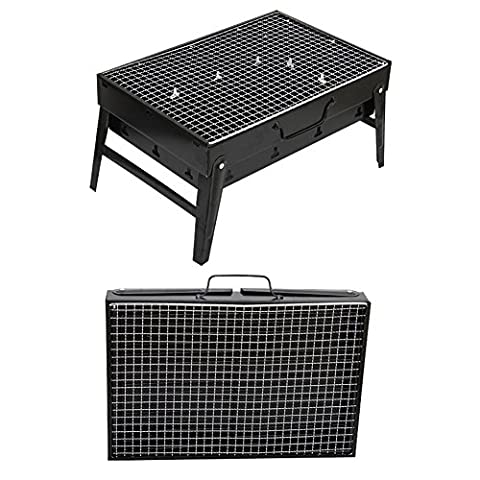 en acier inoxydable pour barbecue barbecue grill Foyer pliable paissi paniers barbecue grill Portable pour camping Plage BBQ Barbecue grill Rack pliable lger pique-nique BBQ de support Grill 43.5 * 29 * 6cm noir