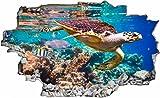 DesFoli Schildkröte Meer Korallen 3D Look Wandtattoo 70 x 115 cm Wanddurchbruch Wandbild Sticker Aufkleber C141