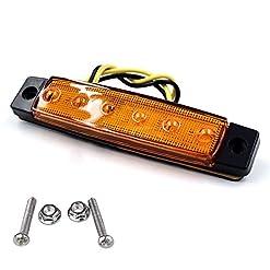 Indicatore di direzione a LED per rimorchi, camion, roulotte, camper, autobus, barca, trattore, camper, 6 LED, 12 V (giallo)