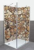 Artland Dusche Bad Rückwand Wandverkleidung aus Aluminium Verbund Platte Motiv meepoohyaphoto Braune Steinwand Architektur Architektonische Elemente Fotografie Grau A7MR