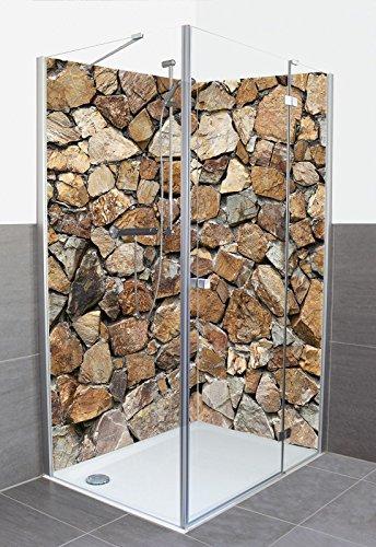 Wunschmaß Duschrückwand mit Motiv aus Aluminium-Verbund für Eckdusche - Auf Maß - Größe Konfigurierbar - Braune Steinwand Architektur Architektonische Elemente Fotografie Grau