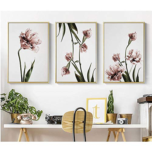 WSNDG Nordischen Stil Wohnzimmer Schlafzimmer Dekoration malerei frische Blume Sofa Hintergrund Wand Sommer dreifach malerei ohne bilderrahmen B5 30 * 40 cm (kein Rahmen)