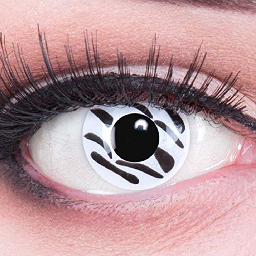 Funnylens 1 Paar farbige Crazy Fun Zebra Jahres Kontaktlinsen. perfekt zu Halloween, Karneval, Fasching oder Fasnacht mit gratis Kontaktlinsenbehälter ohne Stärke!