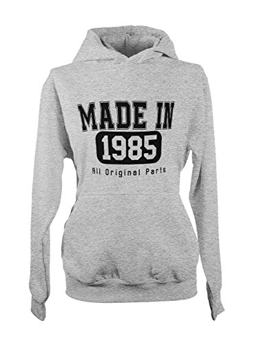 Made In 1985 All Original Parts Birthday Cool Amusant Gift Femme Capuche Sweatshirt Gris
