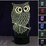 Lampe 3d Illusion Lichter der Nacht, kingcoo verstellbar 7Farben LED Acryl 3d Creative Stereo Touch Switch Visual Atmosphäre Licht Tisch, Geschenk für Weihnachten Modern Eule