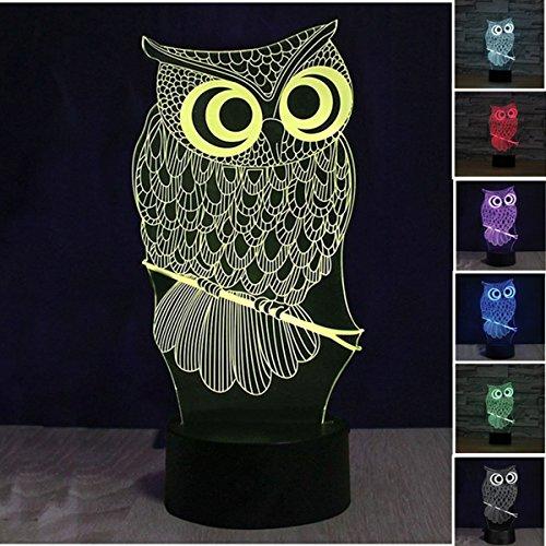 Lampe 3d Illusion Lichter der Nacht, kingcoo verstellbar 7Farben LED Acryl 3d Creative Stereo Touch Switch Visual Atmosphäre Licht Tisch, Geschenk für Weihnachten Modern Eule (Spiel Der Illusionen)
