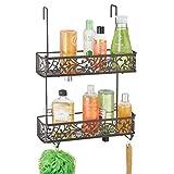 mDesign Duschkorb zum Hängen über die Duschtür – hübsche Duschablage ohne Bohren – Duschregal aus Metall mit zwei Körben und zwei Haken für allerlei Duschzubehör – bronzefarben