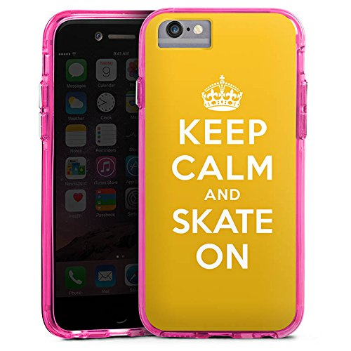 Apple iPhone 7 Bumper Hülle Bumper Case Glitzer Hülle Keep Calm Skateboard Skaten Bumper Case transparent pink
