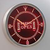 nc0257-r Barber Pole Hair Cut OPEN Neon Sign LED Wall Clock Uhr Leuchtuhr/ Leuchtende Wanduhr