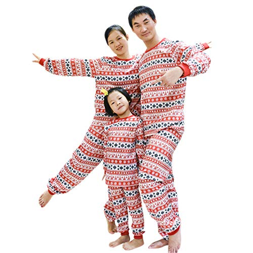 BOZEVON Familie Weihnachten Pyjamas Sets - Kinder Jungen Mädchen Weihnachten Nachtwäsche Papa Mama Paare Nachtwäsche Passenden Weihnachten Pyjamas, Rot-Tag S
