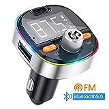 Trasmettitore FM Bluetooth per Auto QINFOX Vivavoce Bluetooth per Auto con 2 USB e PD3.0 Porte,Bass booster,Funzione di Memoria,Supporta Scheda TF/U Disk,Attivazione Siri/Google,7 Colori Controluce