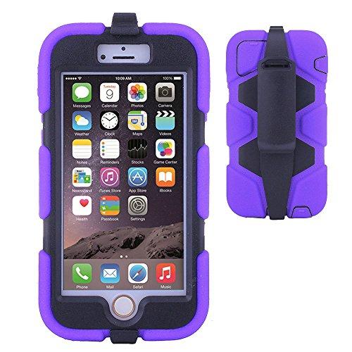 TECHGEAR® G-SHOCK Apple iPhone 6 (4.7 POUCES) Coque Solide Anti-Choc avec Protecteur d'Écran Intégré et Attache Ceinture Multi-Fonction Utilisable Comme un Stand [NOIR] VIOLET