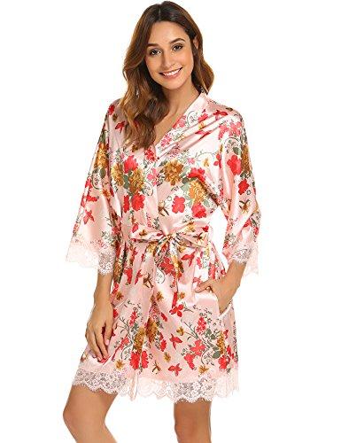 BeautyUU Damen Satin Kimono Nachthemd Morgenmantel Kurze Schlafanzüge mit Blumen und Spitzen Bademantel XXL-S (Im Kimono Japanische Frauen)