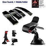 Black Combo Car Universal Car Mobile Holder (Black) + Car Door Guard (Black)
