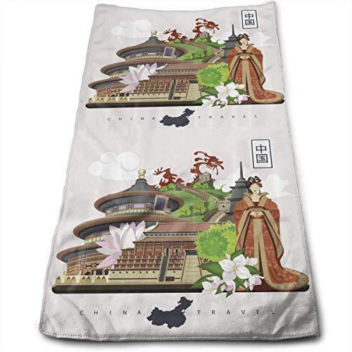 Chinese Attributes Phoenix Dress Lotus Flower Dragon Palace Premium Soft Polyester Lightweight Hand Towel,Travel Towel,Bath Sheet, 40cm X 70cm- Multipurpose Towels for Bath, Hand, Face, Gym and Spa Lotus Flower Dress