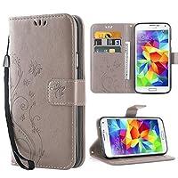 Galaxy S5 Hülle,Solide Butterfly PU Ledercase Tasche Schutzhülle Flip Case Magnetverschluss Handyhülle im Wallet Bookstyle Standfunktion für Samsung Galaxy S5 - Grau