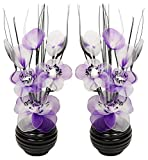 Flourish 796167 Fleurs artificielles en soie avec vase ovale pourpre noir violet 75cm, Verre, Pair of Black/Purple, 10x10x32 cm