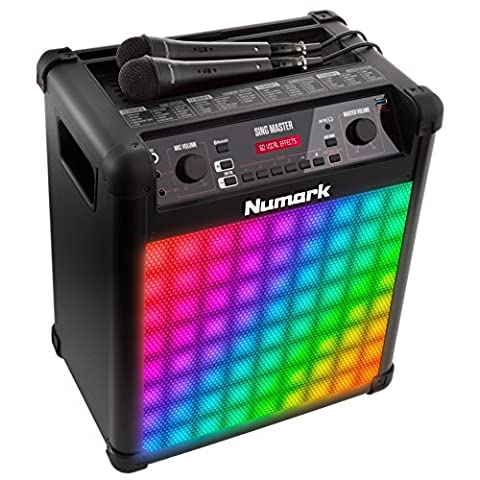 Numark Singmaster, 50 W Bluetooth Full-Range Speaker and Karaoke System with 60 Vocal Settings, Effects, Microphone & Colorful LED
