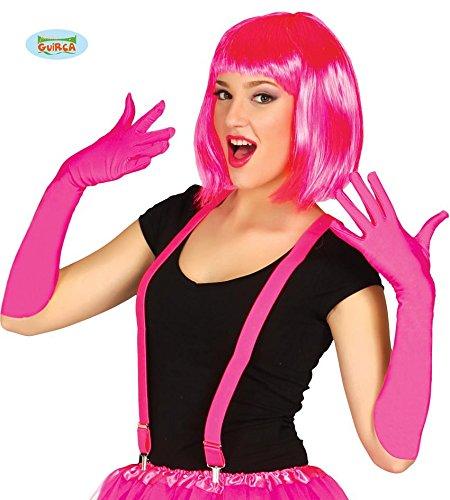 neon pinke lange Handschuhe für Erwachsene ca. 45cm