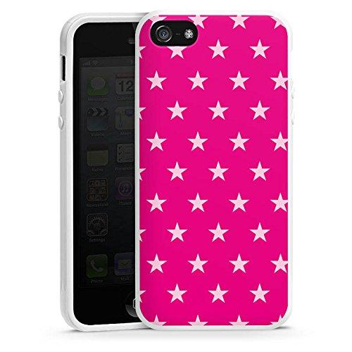 Apple iPhone 5s Housse Étui Protection Coque Étoile Rose vif Motif Housse en silicone blanc