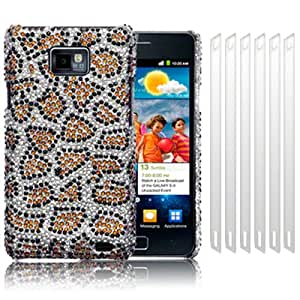 SAMSUNG i9100 GALAXY S2 II LEOPARD SPOTS DESIGN DIAMANTE CASE / COVER / SHELL / SHIELD + 6-IN-1 SCREEN PROTECTOR PACK PART OF THE QUBITS ACCESSORIES RANGE