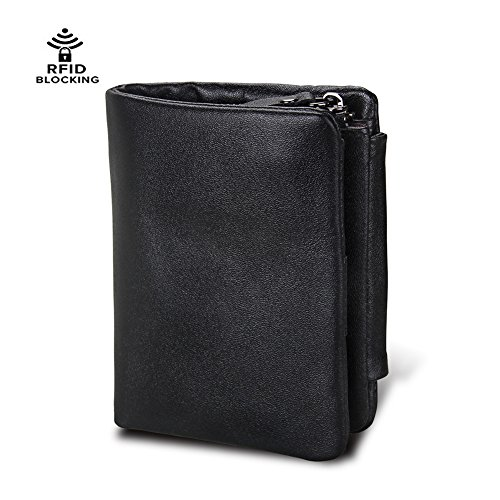 Mens Genuine Leather Wallet RFID Blocking Vintage Style Textured Trifold Roomy Space Short Wallet with Zipper Coins Pocket (Tri-fold Wallet Coin)