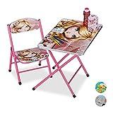 Relaxdays Mobiliario Plegable Infantil, Mesa de Actividades, Silla para niños, Princesa, 1 Ud, Rosa, Metal, plástico