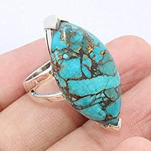 Blue Copper Turquoise Matrix 925 Sterling Silver Ring Jewelry