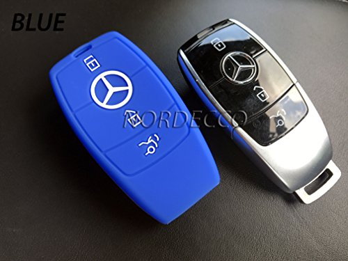 Preisvergleich Produktbild Neue Hohe Qualität Silikon 3Button Smart Intelligente Schlüsselanhänger Displayschutzfolie Schutzhülle Handschuh 20162017Mercedes-Benz Modell C-Class AMG E-Klasse S-Klasse CLA GLA Hybrid (blau)