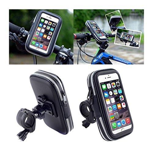DFV mobile - Soporte Profesional Reflectante para Manillar de Bicicleta y Moto Impermeable Giratorio 360 para => APPLE IPHONE 5S > Negra