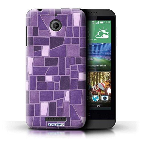 Kobalt® Imprimé Etui / Coque pour HTC Desire 510 / Rose/Pourpre conception / Série Carrelage Mosaïque Pourpre/Blanc
