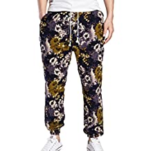 ZhiYuanAN Pantalones Bombachos Para Hombres Estampado Floral Bohemia Hippie Harem Pantalones De Impresión De Cintura Elástica Con Cordón