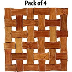 HOKIPO Square Bamboo Table Coaster, Pan Pot Holder, 16 x 16 cm, 4 Piece Set