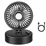 AWGPB Mini Ventilador USB Silencioso - Portatil Ventilador Clip De Escritorio Y Ajustable Rotación 360º, para Cochecito De Bebé, Coche, Caminadora, Oficina, Hogar, Viajes, Camping (Negro)