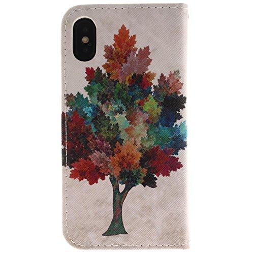 Coque pour iPhone X, Frlife | Housse en Cuir PU pour iPhone X Coque avec Étui en Silicone, Protection Complète pour Votre Téléphone Portable color2