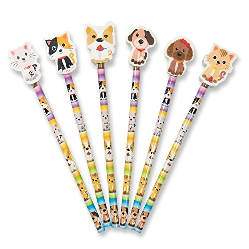 12x Cute Pets (Kätzchen/Welpen) Bleistifte mit großen Form Radiergummi Topper. Ideal Party...