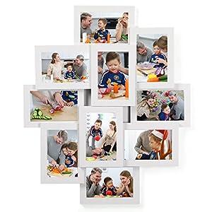 SONGMICS Bilderrahmen Collage für 10 Fotos je 10 x 15 cm (4″ x 6″) aus MDF-Platten, Montage erforderlich, Schwarz RPF20BK