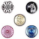 Morella–® de mujer Small Click Button Set 5Unidades Impresión Botones 12mm de diámetro caballo con protección Ángel Amuleto de la suerte y conchas