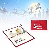 Carte postale carte vœux Arbre Noël Origami Pop Up Kirigami Merry Christmas