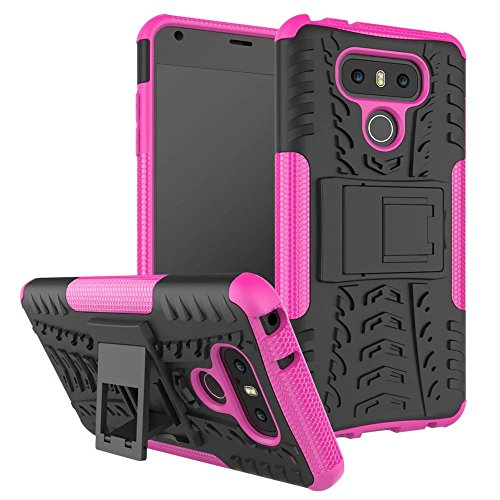 YHUISEN LG G6 Case, Hyun Pattern Dual Layer Hybrid Armor Case Abnehmbar Kickstand 2 In 1 Shockproof Tough Rugged Case Cover für LG G6 ( Color : Purple ) Pink