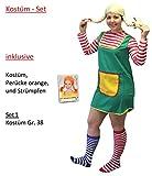 3-tlg. Kostüm-Set Pippi Langstrumpf