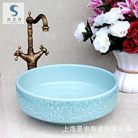 JinRou Handmade ceramic art Wash basin, high-end classical contemporary bathroom sink 40*15cm