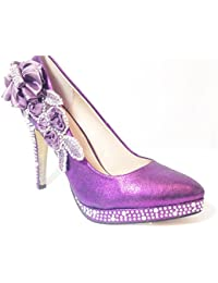 Ktc Glitter Gorgeous Wedding Bridal Evening Party Crystal High Heels Women Shoes