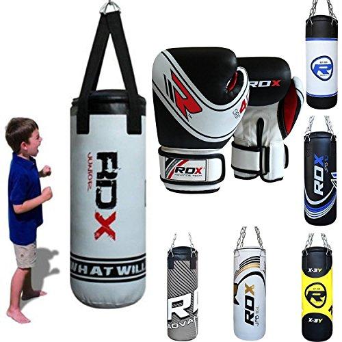 RDX Bambini Sacco da Boxe Pieno Arti Marziali MMA Sacchi Pugilato Muay Thai Kick Boxing con Guantoni Allenamento Catena Gancio Soffitto 2FT Junior